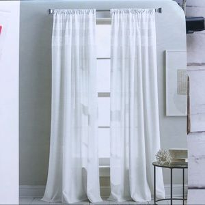 DKNY lace top white window panels drapes